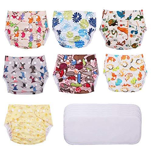 Yissvic Baby Windeln Stoffwindel Wiederverwendbar Waschbar 7 Stück für Baby mit 0-36 Monate MEHRWEG
