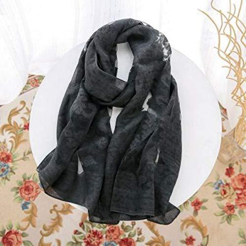 MAOSITIAN Seidenschal 195X70Cm Schal Frauen Luxusmarke Bandana Stickerei Schals Lange Foulard Faux Silk Lace Schals Schals Wrap Faux-stickerei