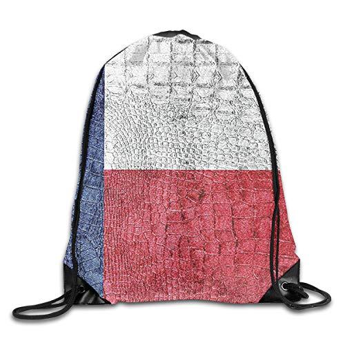 Texas State Flag Painted On Crocodile Snake Skin Patriotic Emblem Image Unisex Home Travel Outdoor Sports Storage Rope Bag Drawstring Backpack Bag -