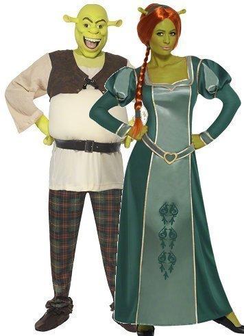 und Herren Dreamworks Shrek und Fiona Halloween Film Comic-Figuren Kostüm Verkleidung Outfit - Grün, Ladies 16-18 & Mens Large (Shrek Prinzessin Fiona Kostüme)