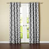 Best Home Fashion Grey Moroccan Printed Room Darkening Grommet Curtains 183cm L - 1 Pair