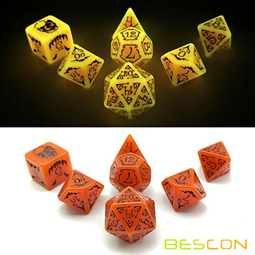 Bescon Glowing Halloween Polyhedral Dice 7pcs Set, Luminous Halloween RPG Dice Set, Glow in Dark Halloween DND Game Dice