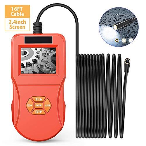 TIANQING Industrielles Endoskop Kamera, 2.4 Zoll LCD-Monitor Endoskop 5 mm Inspektionskamera mit 8 einstellbaren LED-Leuchten Semi-Rigid IP67 wasserdichte Schlangenkamera,Red