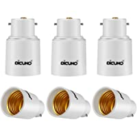DiCUNO 6-Pack B22 to E27, Bayonet to Screw Socket Converter Socket Adapter Lamp Base Adapter for LED Bulbs and Incandescent Bulbs and CFL Bulbs