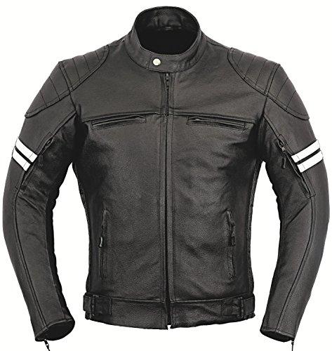 Franklin Leder Motorrad Jacke Motorradfahrer Männer Schutz Mantel - schwarz, L (Damen Leder-motorrad-jacke)
