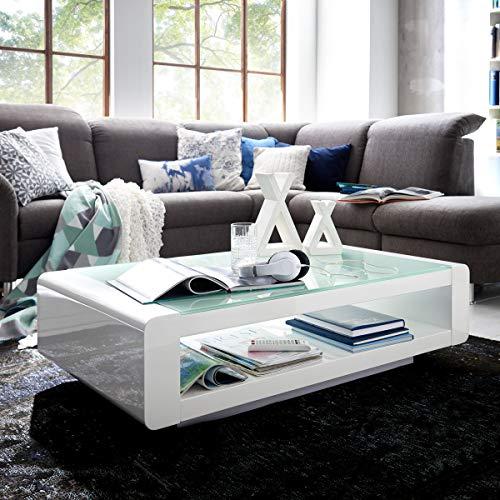 Moebella Couchtisch weiß Hochglanz mit Glasplatte Soleil 120x70cm Wohnzimmertisch Glastisch