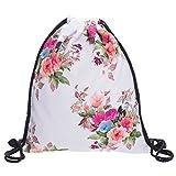 Beutel Turnbeutel White Flowers Beuteltasche Hipster Bag Gymsack Festival Tasche Blüten Blumen