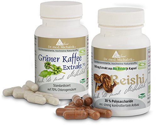 Grüner Kaffee 70 % & Ling Zhi (Reishi) nach Dr. Michalzik, (zusammen 150 vegane Kapseln) im Bundle - ohne Zusatzstoffe