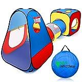 amzdeal 3 en 1 Túnel del Juego Infantil, Pop Up Tienda Campaña Infantil Exterior/Interior con Cesta de Baloncesto, Parque de Juegos de Cubby Plegable para Niños