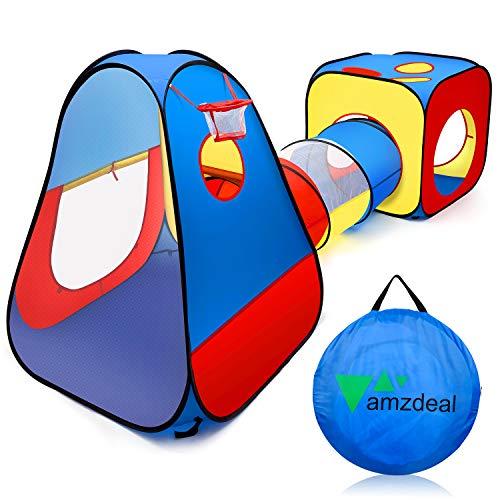 amzdeal Tente Tunnel pour Enfant Intérieur et Extérieur, Tente de Jeu avec Cube + Tunnel + Tente Pointue ,Tente Piscine à Balles Durable pour Bébé
