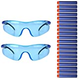 Tocone 2pcs Gafas de Protección Gafas Protectoras Gafas de Seguridad + 20pcs Dardos Elite para Nerf Toy Gun N-strike Elite Series Juegos de Niños al Aire Libre