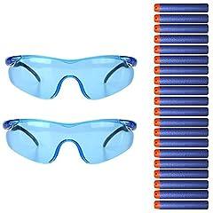Idea Regalo - Tocone 2 pezzi Occhiali di Protezione Gioco all'aperto Protettiva Occhiali Occhiali di Sicurezza per Bambini + 20 pezzi Blu Freccette per Nerf n-strike Elite Gun Toy Gun Gioco