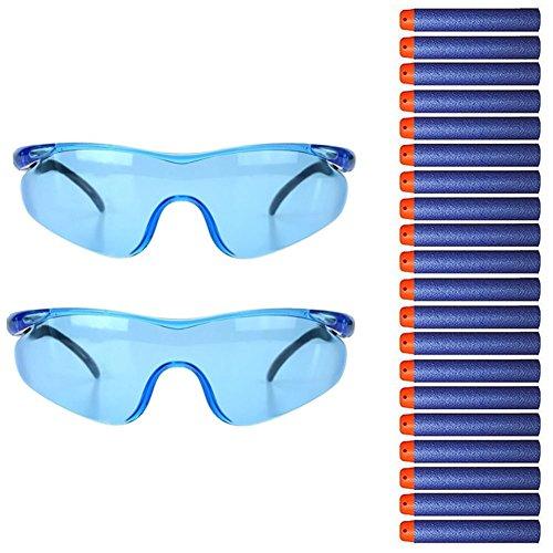 QiGui 2 Stück Schutzbrille Gläser + 20pcs Refill Foam Bullet Darts für Nerf Toy Gun N-strike Elite Series (Kinder Nerf-gun-brille)