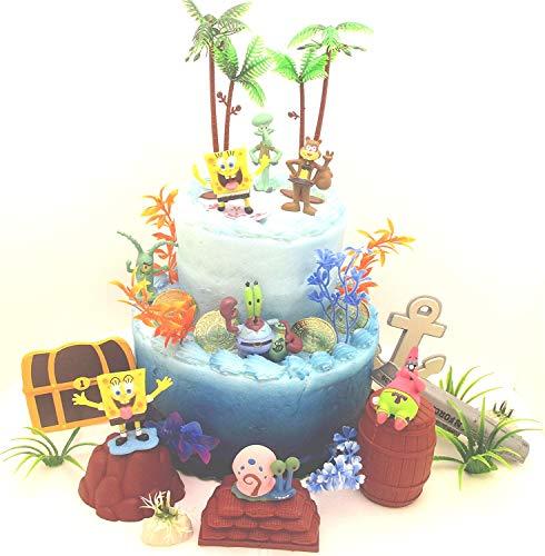 f unter dem Meer Deluxe Geburtstagstortenaufsatz Set mit zufälligen Spongebob-Charakterfiguren und dekorativem Zubehör ()
