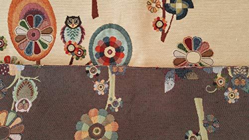 Jacquard-stoff-tasche (Stoff Meterware Gobelin Jacquard Eule und Blumen - Höhe 1,40 m - 1 QTA = 0,50 m linear - zum Nähen von Taschen, Vorhängen, Kissen, Sofas)