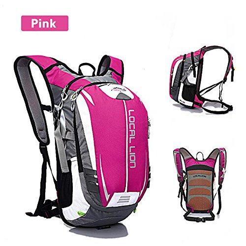 SYSI Damen und Herren 18L Sport Rucksack Wasserdicht Fahrradrucksack Leicht Trinkrucksack Reisetasche Daypack Rosa