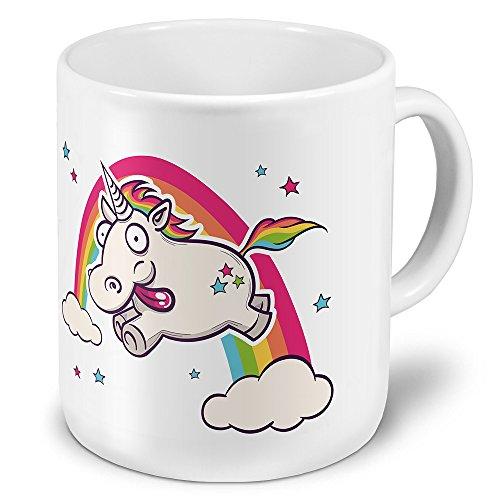"XXL Riesen-Tasse mit Motiv \""Verrücktes Einhorn\"", Kaffeebecher, Mug, Becher, Kaffeetasse - Farbe Weiß"
