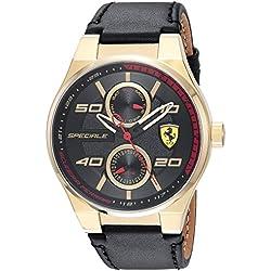 Ferrari Men's 'SPECIALE MULTI' Quartz Gold-Tone and Leather Casual Watch, Color:Black (Model: 0830417)