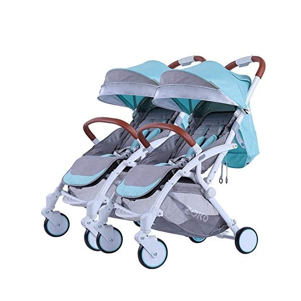ZhiGe Pushchair Twin Baby Stroller can be Laid Down Foldable Dragon Tire can be Split Baby Stroller Double car ZhiGe Light city stroller Ideal for a daily life with bus or train Compact folding size 6