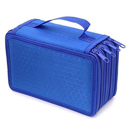 Hipiwe Student-Scatola per matite grande capacità, astuccio, matita a doppio strato, per Make-up-Beauty Case da viaggio, borsa e custodia per il trasporto blu