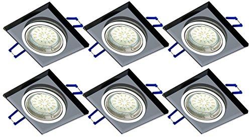 tg6736s 06B de 6x Luxus Design–Foco rectangular de cristal negro & Aluminio...