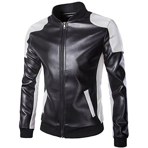 Brinny Veste en faux cuir Biker Blouson Slim Fit Veston pour Hommes Loisir outwear Noir