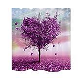 MagiDeal Stoff Schimmelresistenter Wasserabweisender Stoff-Duschvorhang 180 x 180cm - Herz Baum, 180cm × 180cm