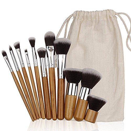 Kosee Beauty Bambus Make-up Pinsel Set 10pcs Professional Make Up Set mit Reisetasche -