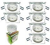 Trango 6er Pack Ulta Flach Design LED Einbaustrahler Einbauleuchten Deckenstrahler aus handgeschliffenes Glas & Alu incl. 6x dimmbarem LED Modul nur 3cm Einbautiefe TG6729S-06MOSD