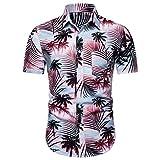 AG&T⊙⊙ Camicia Casual Hawaiana a Maniche Corte abbottonata a Maniche Corte con Maniche Lunghe da Uomo