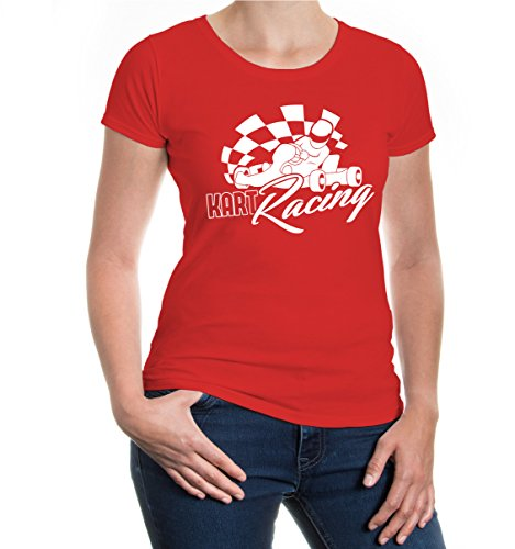 buXsbaum® Girlie T-Shirt Kart Racing Red-White
