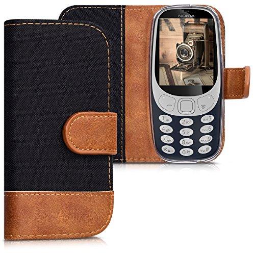 kwmobile Hülle für Nokia 3310 (2017) - Wallet Case Handy Schutzhülle Kunstleder - Handycover Klapphülle Schwarz Braun