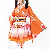 Double Villages Japonais Style Kimono Peignoir Robe Anime Cosplay Costume Yukata Série Japonais D'été Mignon Fille Anime Cosplay Costumes (Orange)