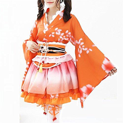 (Double Villages Japanischen Stil Kimono Bademantel Kleid Anime Cosplay YUKATA Serie Japanischen Sommer Nette Mädchen Anime Cosplay Kostüme (Orange))