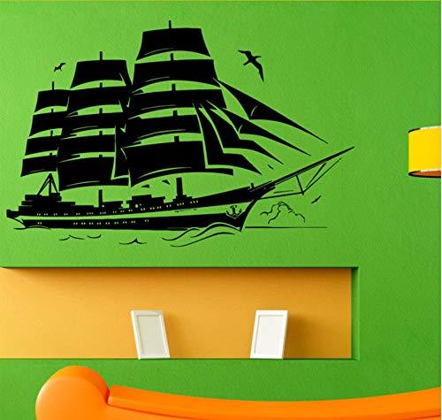 Wuyyii Mode Piratenschiff Wandtattoo Segel Boot Vinyl Aufkleber Nautische Grafik Wand Vinyl Home Kunst Dekoration Benutzerdefinierte Größe Farbe ()