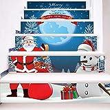Treppenaufkleber Weihnachten Verkleiden Sich Treppen Santa Claus Mit Schneemann Treppen Dekorative Wandaufkleber 18CM*100CM*6 Stück