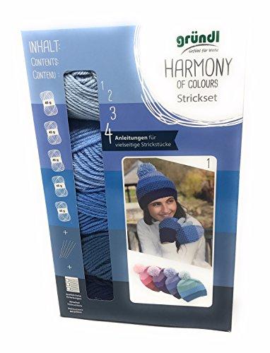 NEU! Gründl Strickset Harmony of Colours, Komplettset, 5 x 40 Gramm Wolle+ Stricknadeln+Anleitungen für Mütze u. Handschuhe, Loop u. Kissen, (03 blautöne)