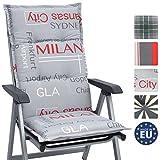 Beautissu Cojín sillas asientos respaldo alto de jardín Loft HL City 120x50x6cm - Cómodo y resistente a rayos UV