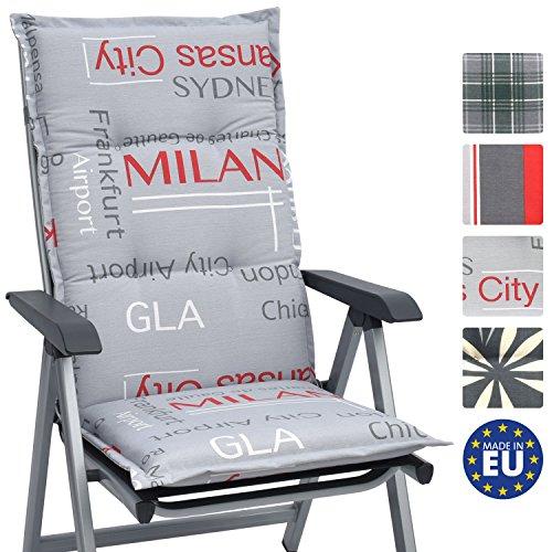 Beautissu Hochlehner Auflage für Gartenstuhl Loft HL City 120x50x6cm Bequemes Sitzkissen - Polsterauflage UV-Lichtecht