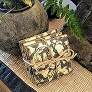 3 sottobicchieri in cemento grigio scuro con finitura in metallo dorato Panot, fiore di Barcellona, piastrelle