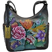 547514e7ba419 Anuschka Damen Echtleder Umhängetasche - handbemalt Original Artwork -  Classic Hobo mit Nieten Seitentaschen