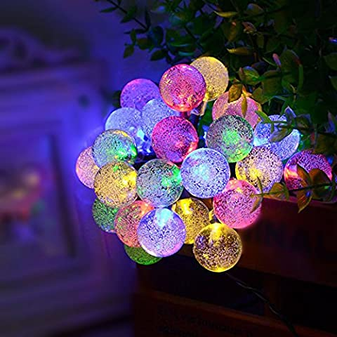 EGELBEL guirnaldas solares lámpara solar exterior guirnalda Solar 6m 30LED RGB Bola de cristal de Navidad lámpara decorativa para exterior, jardín, hogar, boda, navidad nuevo partido año