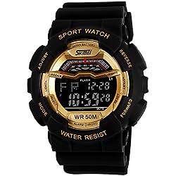 ufengke® klassische trendy wasserdicht Nachtlicht Quarz Armbanduhren für Mannfrauen, Multifunktions Tag und Datum Outdoor-Sportarten elektronische Armbanduhren, Gold