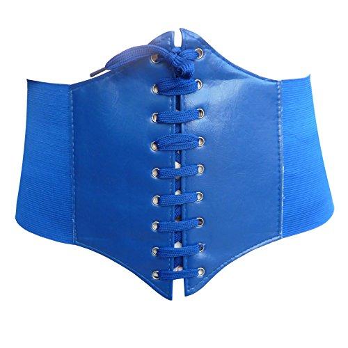 HOEREV® elastischen breiten elastischen Band gebunden waspie Korsett Hüftgurt_S_Blau (Gürtel Tuch)