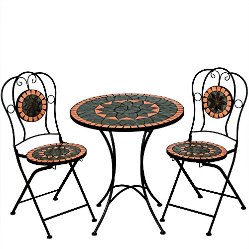 Deuba Mosaic Table and Chairs Set Bistro Set Terracotta - Garden Terrace Furniture - 1 Table & 2 foldable Chairs
