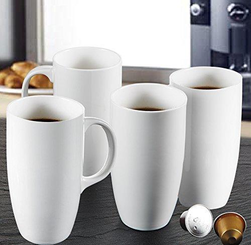 """Panbadp Tazas de Porcelana Blanca de 5"""" Juego de Tazas 4 Piezas, Tazas de Cerámica para servir Cafe/Té/Agua, 550 ml (13 * 9 * 15.5 cm)"""