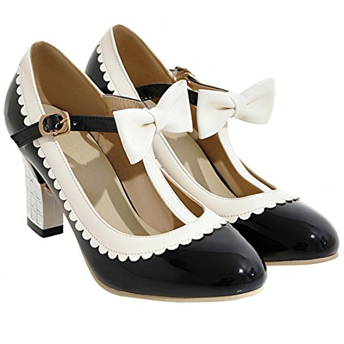 AIYOUMEI Damen Geschlossen Knöchelriemchen Plateau Mary Jane Pumps Stiletto High Heel Elegant Modern Schuhe Schwarz