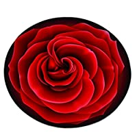 Carpet Liucuifang Rose rug Living room bedroom study rug Computer chair floor mat Lovely bedside rug Living room decorations Floor decorations (crystal velvet) (Color : RED, Size : 80CM*80CM)