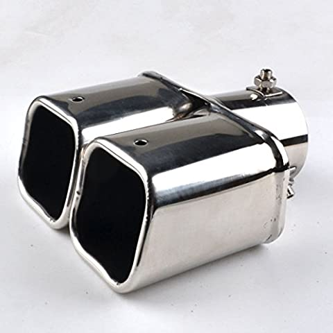 RunQiao Universal Exhaust Tips Pipe Muffler Trim Dual Twin Chrome Stainless Steel Tail Up to 62mm,
