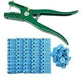 Foonee - Etiquetas de plástico para Oreja de Ganado, 100 Unidades, Color Azul, con aplicador de Oreja para Gato, Oveja de Cabra, Vacas, Casas y ovejas